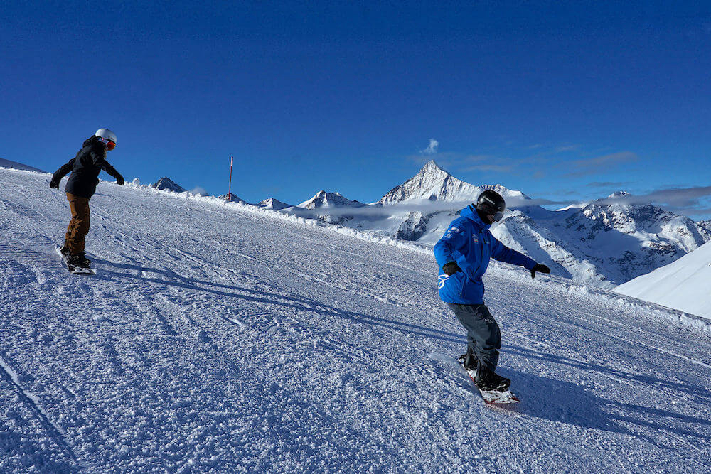 private snowboard lessons for adults in Zermatt