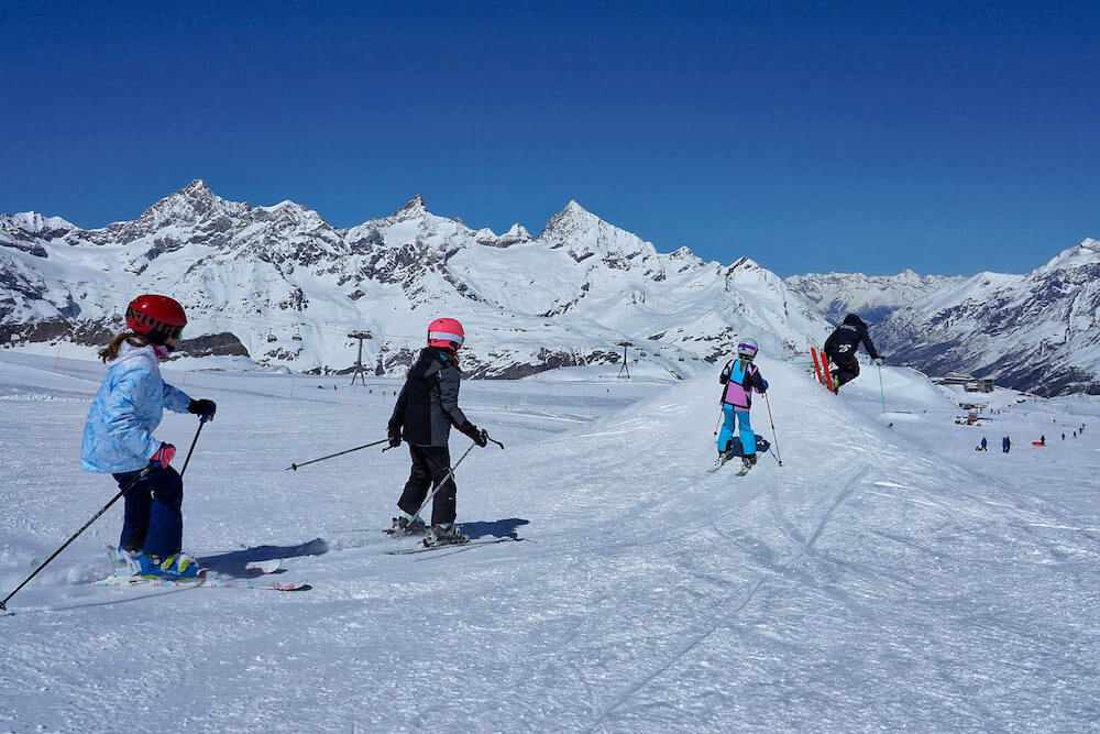 kids group ski lessons with professional instructor, Zermatt