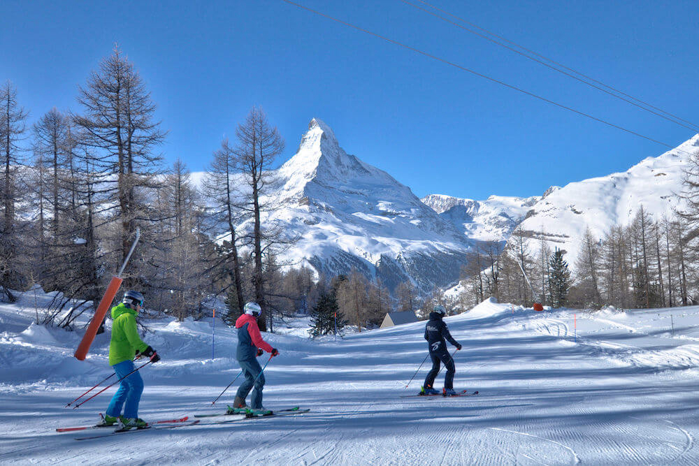 lessons to skiing on blue pistes, Stoked, Zermatt