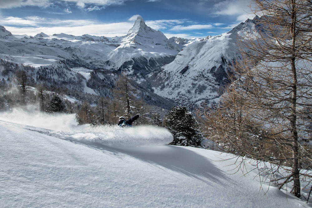 off piste skiing lessons in Stoked snowsport school, Zermatt