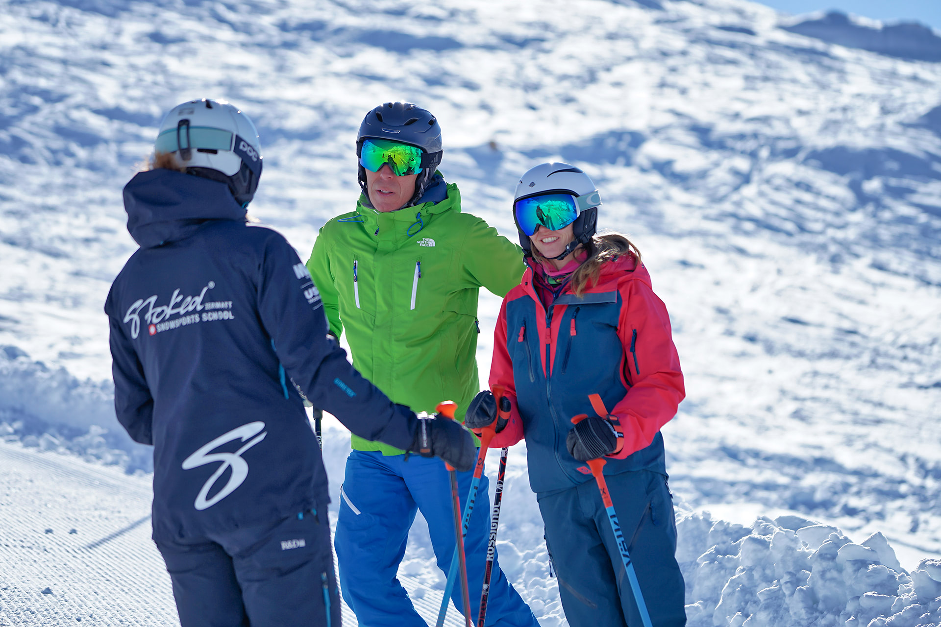 ski and snowboard lessons in Stoked ski school Zermatt